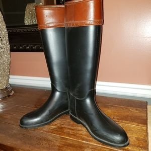 Burberry Rubber Rain Boots with Leather Trim